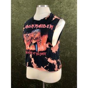 🌈Iron Maiden tie dye style bleached crop top